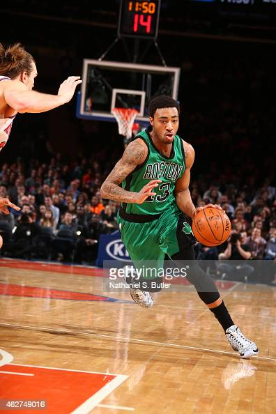 James Young of the Boston Celtics handles the ball against the New York Knicks on February 3 2015 at Madison Square Garden in New York City NOTE TO...