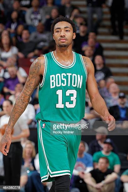 James Young of the Boston Celtics looks on during the game against the Sacramento Kings on February 20 2015 at Sleep Train Arena in Sacramento...