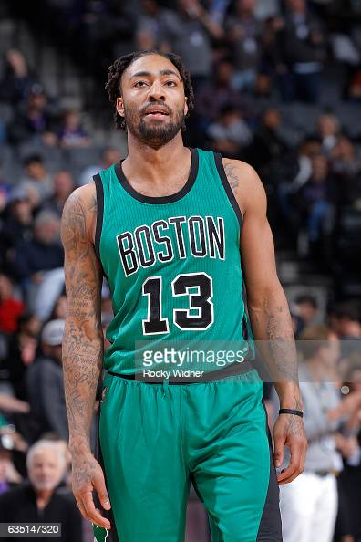 James Young of the Boston Celtics looks on during the game against the Sacramento Kings on February 8 2017 at Golden 1 Center in Sacramento...