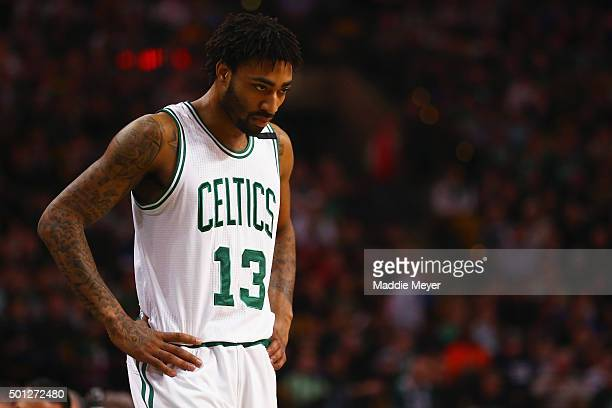 James Young of the Boston Celtics looks on during the second quarteragainst the Golden State Warriors at TD Garden on December 11 2015 in Boston...