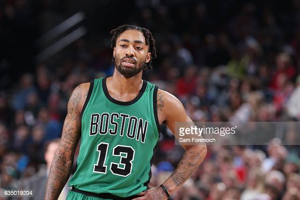 James Young of the Boston Celtics reacts to a play against the Portland Trail Blazers during the game on February 9 2017 at the Moda Center in...