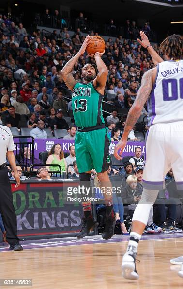 James Young of the Boston Celtics shoots a three pointer against the Sacramento Kings on February 8 2017 at Golden 1 Center in Sacramento California...