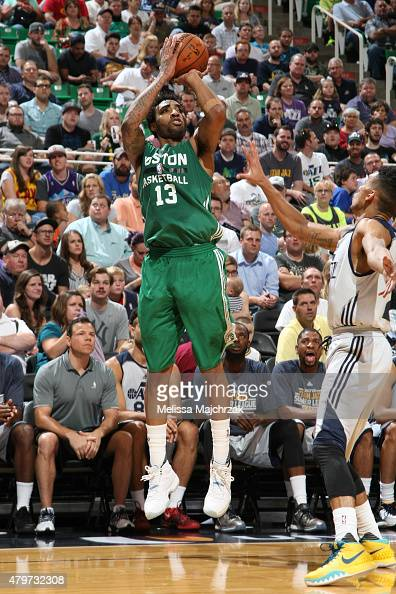 James Young of the Boston Celtics shoots against the Utah Jazz during the NBA Summer League on July 6 2015 at EnergySolutions Arena in Salt Lake City...