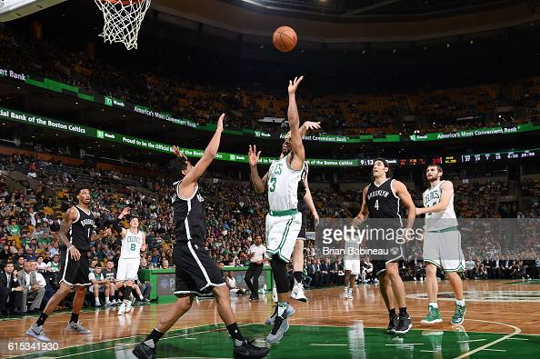James Young of the Boston Celtics shoots the ball against the Brooklyn Nets on October 17 2016 at the TD Garden in Boston Massachusetts NOTE TO USER...
