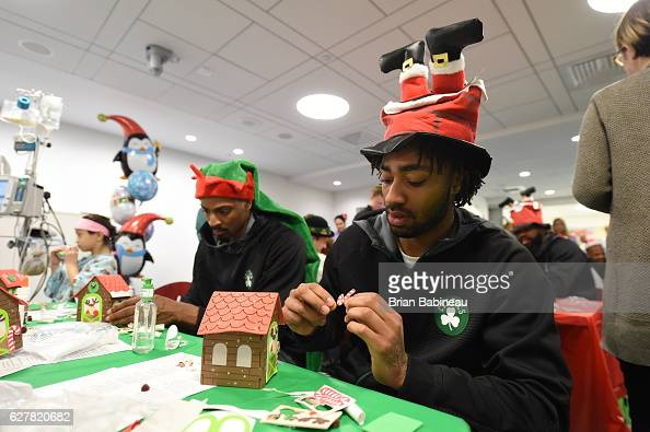 James Young of the Boston Celtics spreads holiday cheer duing a children's hospital visit on December 1 2016 at Boston Children's Hospital in Boston...