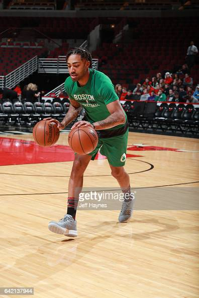James Young of the Boston Celtics warms up before the game against the Chicago Bulls on February 16 2017 at the United Center in Chicago Illinois...