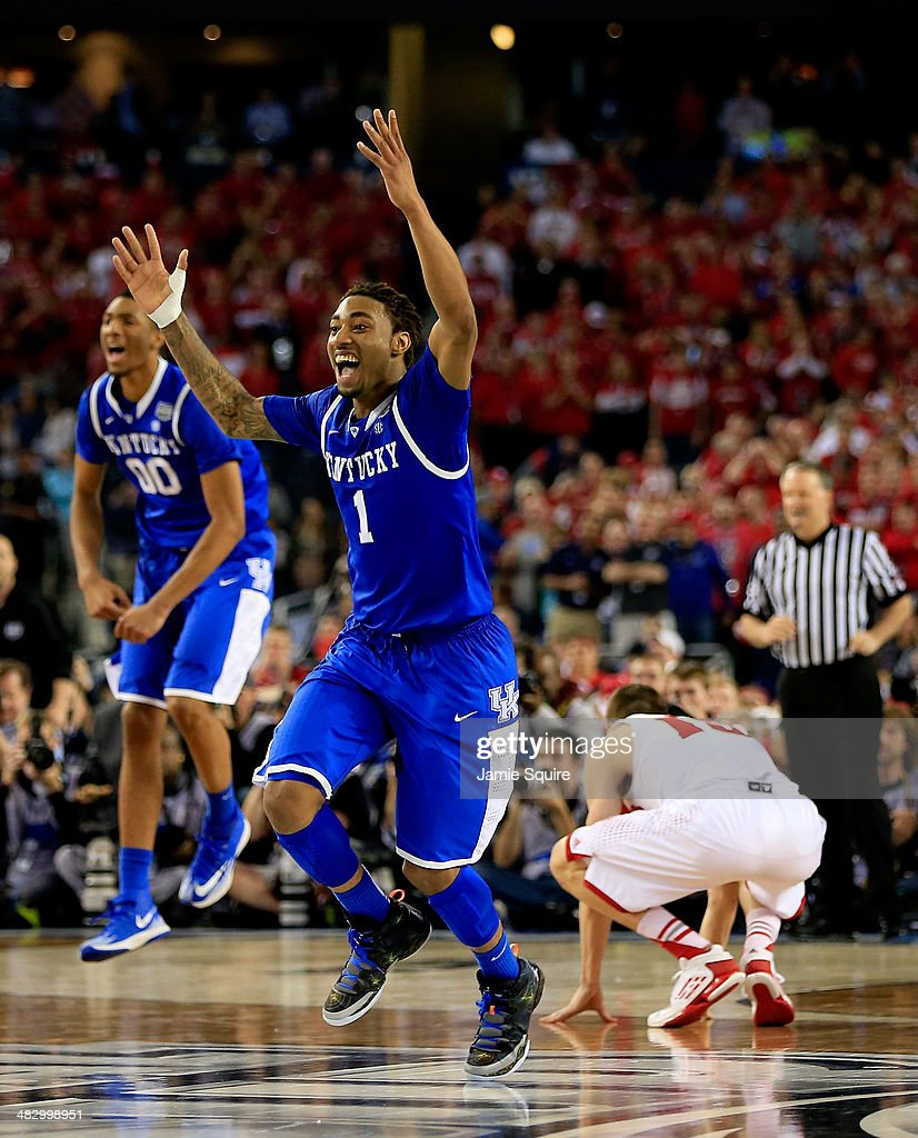 James Young #1 of the Kentucky Wildcats reacts after defeating the Wisconsin Badgers 74-73 in the NCAA Men's Final Four Semifinal at AT&T Stadium on April 5, 2014 in Arlington, Texas.