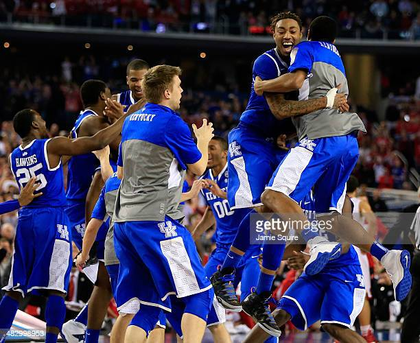 James Young of the Kentucky Wildcats reacts after defeating the Wisconsin Badgers 7473 in the NCAA Men's Final Four Semifinal at ATT Stadium on April...