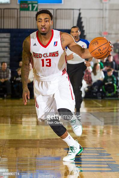 James Young of the Maine Red Claws brings the ball up court against the Fort Wayne Mad Ants on December 4 2014 at the Portland Expo in Portland Maine...