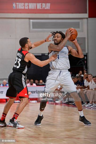 James Young of the New Orleans Pelicans looks to pass against the Toronto Raptors during the 2017 Las Vegas Summer League on July 7 2017 at the Cox...