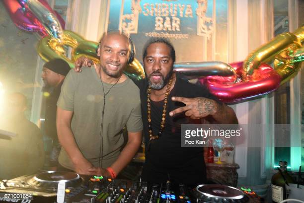 JamesÊand DJ Naughty J attend 'Tonic Follies' Villa Schweppes Before Cannes Festival Party at Foundation Mona Bismarck on April 20 2017 in Paris...
