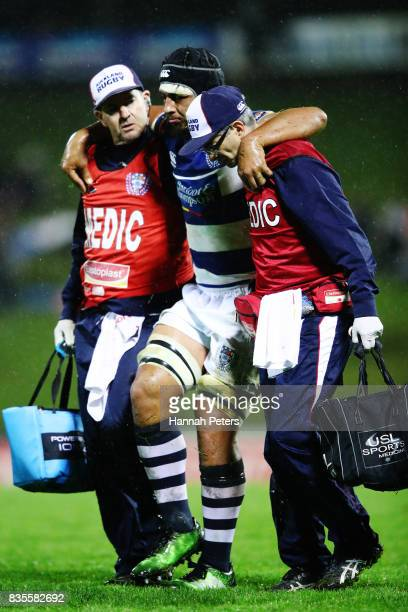 Jameson Fa'ananaShultz of Auckland is taken off injured during the round one Mitre 10 Cup match between Counties Manukau and Auckland at ECOLight...