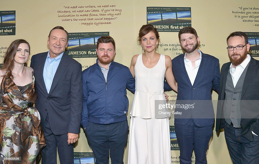 Jameson First Shot winners Kat Wood Jason Perini and Cameron Thrower celebrated with Kevin Spacey Maggie Gyllenhaal and Dana Brunetti during the...