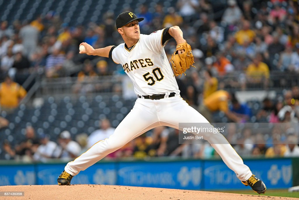 Jameson Taillon #50 of the Pittsburgh Pirates delivers a pitch in the first inning during the game against the Los Angeles Dodgers at PNC Park on August 22, 2017 in Pittsburgh, Pennsylvania.