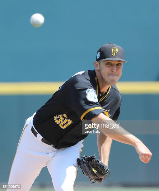 Jameson Taillon of the Pittsburgh Pirates warms up prior to the start of the Spring Training Game against the Baltimore Orioles on March 15 2017 at...