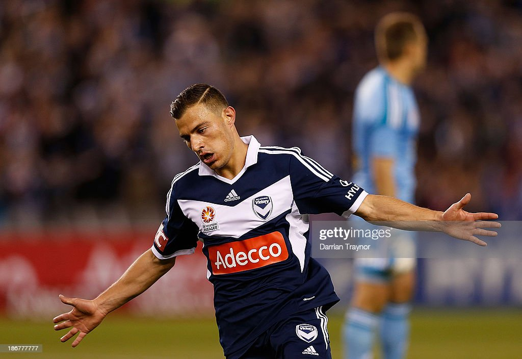 JamesTroisi of the Victory celebrates a goal during the round four A-League match between Melbourne Victory and Wellington Phoneix at Etihad Stadium on November 4, 2013 in Melbourne, Australia.