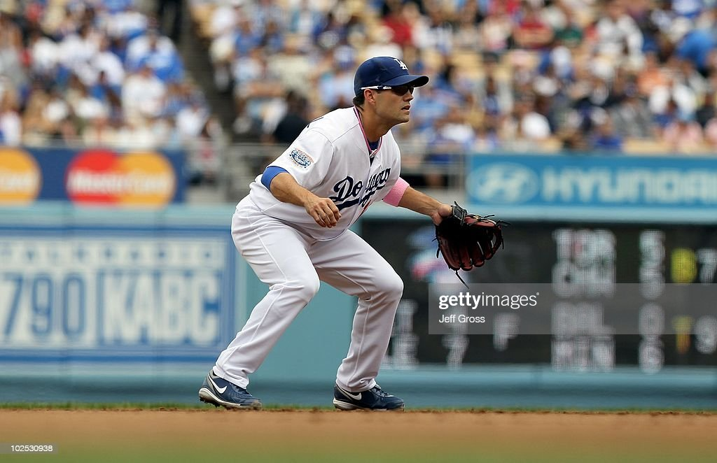 Jamey Carroll #14 of the Los Angeles Dodgers plays against the Colorado Rockies at Dodger Stadium on May 9, 2010 in Los Angeles, California.
