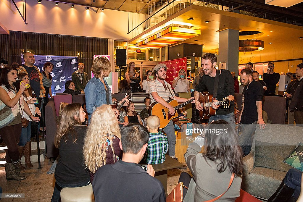 Jamey Ice Joshua Wilkerson Josh Jenkins and Denton Hunker of Green River Ordinance perform during Aloft Hotels 100 Days Of Music at Aloft Austin at...