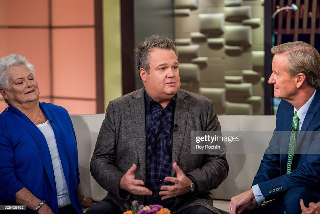 Jamey Stonestreet with son Eric Stonestreet and Fox News Host Steve Doocy during actor Eric Stonestreet and Mother Jamey Stonestreet Visit 'Fox & Friends' at FOX Studios on May 5, 2016 in New York City.