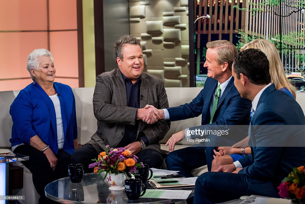 Jamey Stonestreet with son Eric Stonestreet and Fox News Hosts Steve Doocy, Ainsley Earhardt and Brian Kilmeade during actor Eric Stonestreet and Mother Jamey Stonestreet Visit 'Fox & Friends' at FOX Studios on May 5, 2016 in New York City.
