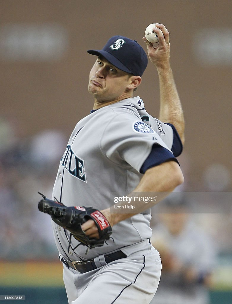 Jamey Wright #50 of the Seattle Mariners pitches in the seventh inning during the game against the Detroit Tigers at Comerica Park on June 11, 2011 in Detroit, Michigan. The Tigers defeated the Mariners 8-1.