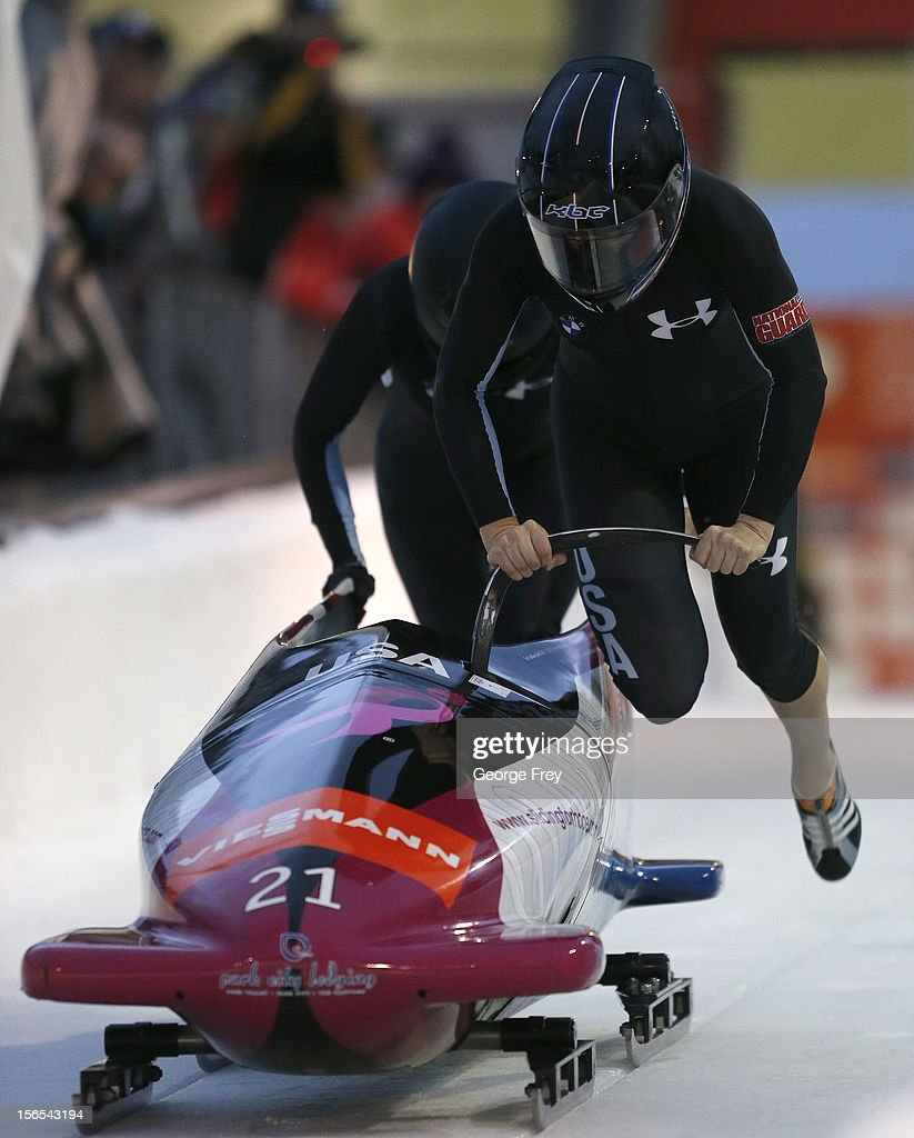 Jami Greubel (F) and Katie Eberling of the U.S. finish in fourth place in the FIBT women's bobsled world cup, on November 16, 2012 at Utah Olympic Park in Park City, Utah.