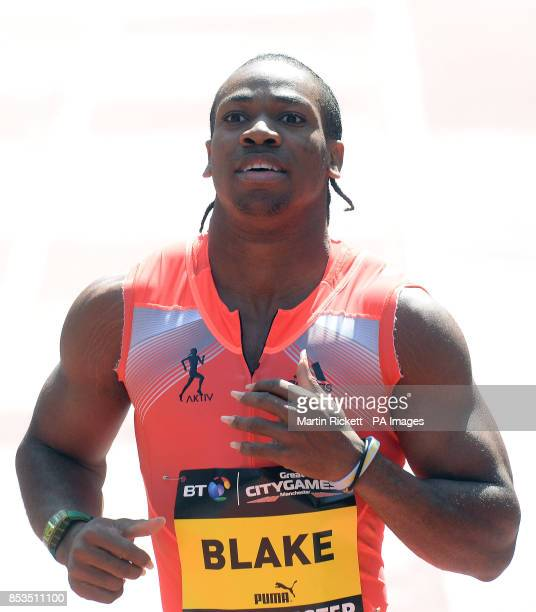 Jamica's Yohan Blake after winning the Mens 150m on Deansgate Manchester during the BT Great CityGames in Manchester City Centre