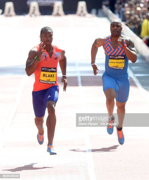 Jamica's Yohan Blake wins the Mens 150m on Deansgate Manchester with Mark Lewis Francis during the BT Great CityGames in Manchester City Centre