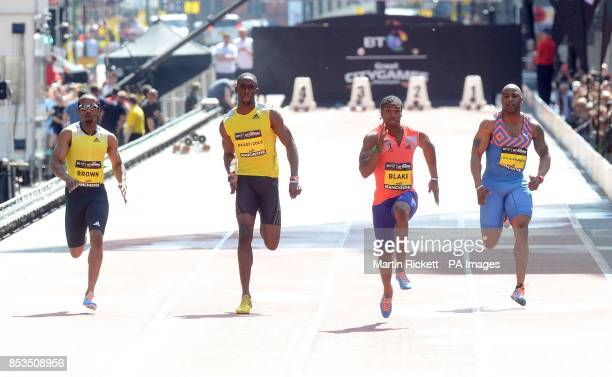 Jamica's Yohan Blake wins the Mens 150m on Deansgate Manchester with Mark Lewis Francis Kemar BaileyCole and Chris Brown during the BT Great...