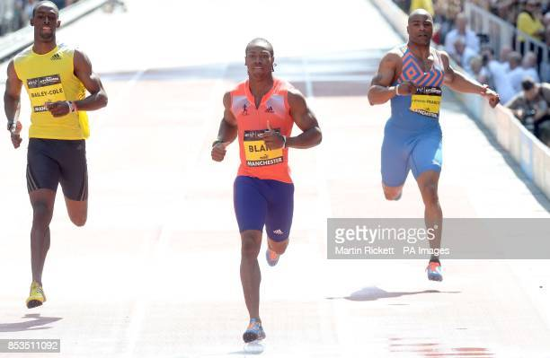 Jamica's Yohan Blake wins the Mens 150m on Deansgate Manchester with Kemar BaileyCole and Mark Lewis Francis during the BT Great CityGames in...