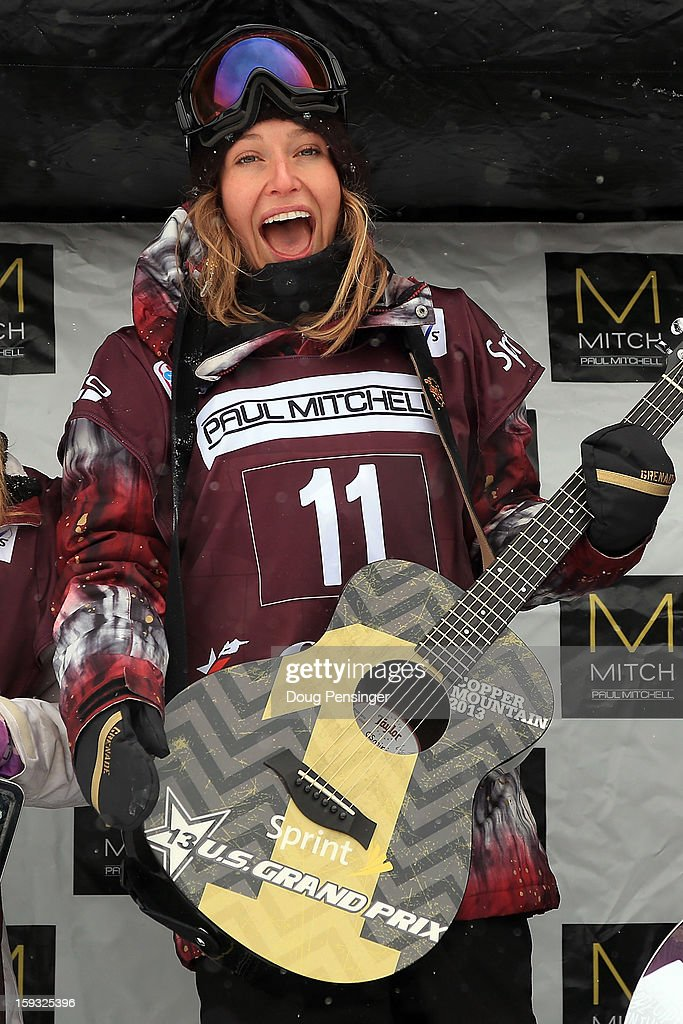 Jamie Anderson of the USA celebrates on the podium after winning the FIS Snowboard Slope Style World Cup at the US Grand Prix on January 11, 2013 in Copper Mountain, Colorado.