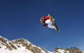 Jamie Anderson of the USA competes in the women's snowboardslopestyle during day two of the Winter Games NZ at The Remarkables on August 23 2009 in...