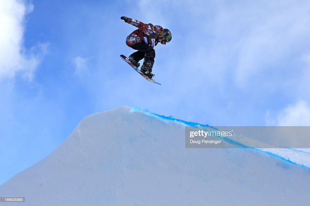Jamie Anderson of the USA soars to first place in the FIS Snowboard Slope Style World Cup at the US Grand Prix on January 11, 2013 in Copper Mountain, Colorado.