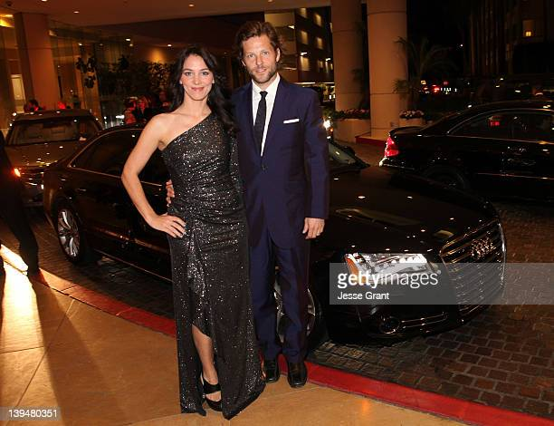 Jamie Bamber and guest arrive at the 14th Annual Costume Designers Guild Awards held at The Beverly Hilton Hotel on February 21 2012 in Beverly Hills...