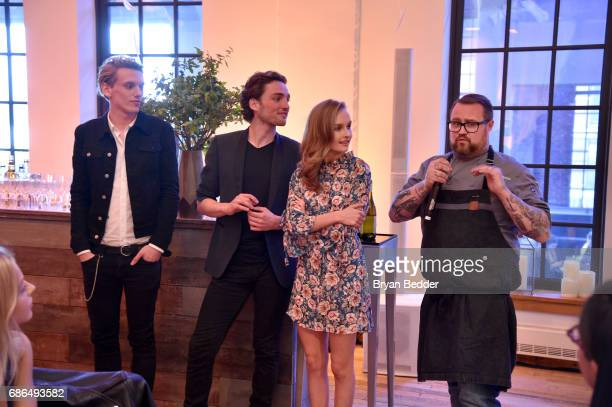 Jamie Beamish Laurie Davidson Olivia DeJonge and Chef Jamie Bissonnette attend TNT's Will Dinner By Toro's Chef Jamie Bissonette presented by TNT'S...
