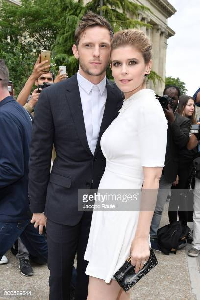 Jamie Bell and Kate Mara are seen arriving at Dior fashion show during Paris Fashion Week Menswear Spring/Summer 2018 on June 24 2017 in Paris France