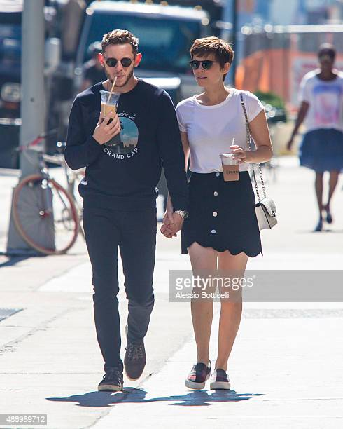 Jamie Bell and Kate Mara are seen taking a stroll in East Village after getting beverages at La Colombe cafe on September 18 2015 in New York City