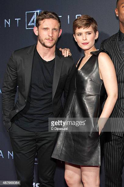 Jamie Bell and Kate Mara attend the 'Fantastic Four' New York Premiere at Williamsburg Cinemas on August 4 2015 in New York City