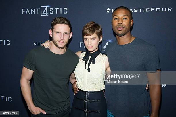 Jamie Bell Kate Mara and Michael B Jordan attend 'Fantastic Four' Atlanta VIP Screening at Cinebistro on July 30 2015 in Atlanta Georgia