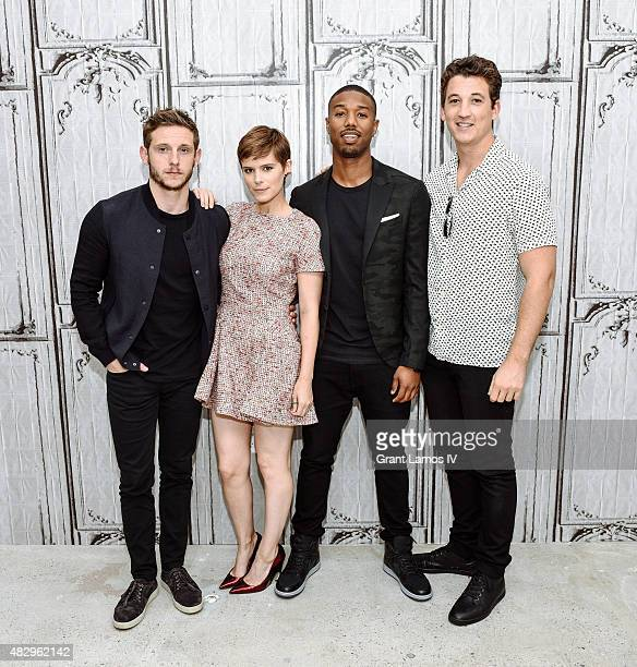 Jamie Bell Kate Mara Michael B Jordan and Miles Teller attend the AOL Build Speaker Series Presents 'Fantastic Four' at AOL Studios In New York on...