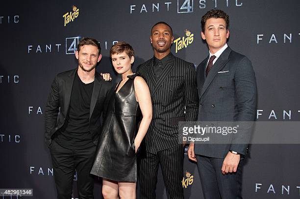 Jamie Bell Kate Mara Michael B Jordan and Miles Teller attend the 'Fantastic Four' New York Premiere at Williamsburg Cinemas on August 4 2015 in New...