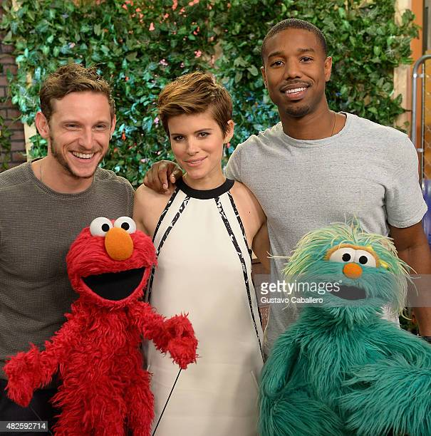 Jamie Bell Kate Mara Michael B Jordan and Sesame Street characters Elmo and Rosita are seen on the set of 'Despierta America' to promote the film...