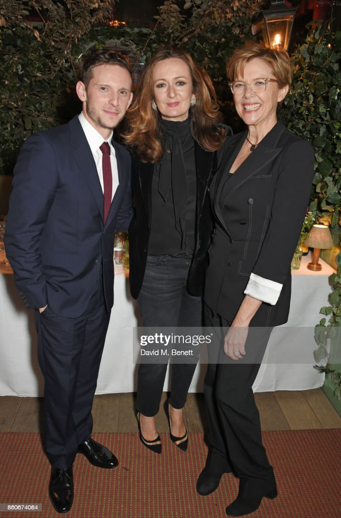 Jamie Bell, Lucy Yeomans, Editor-in-Chief of PORTER magazine, and Annette Bening attend the PORTER & Lionsgate UK after party for 'Film Stars Don't Die In Liverpool' at Mark's Club on October 12, 2017 in London, England.