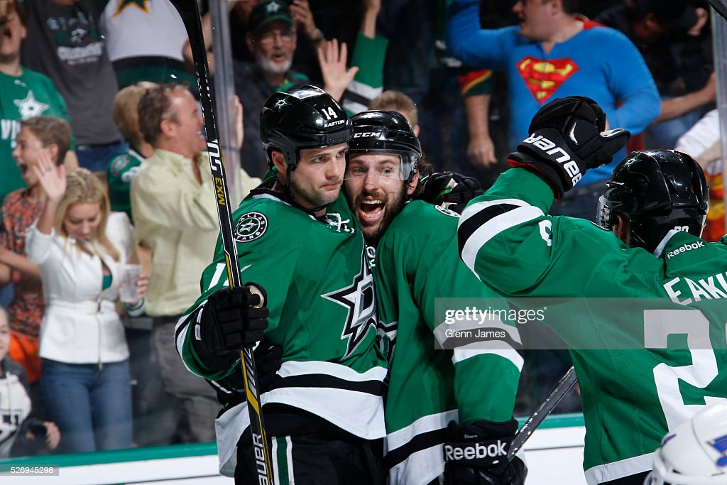 Jamie Benn #14 and Jason Demers #4 of the Dallas Stars celebrate a goal against the St. Louis Blues in Game Two of the Western Conference Second Round during the 2016 NHL Stanley Cup Playoffs at the American Airlines Center on May 1, 2016 in Dallas, Texas.