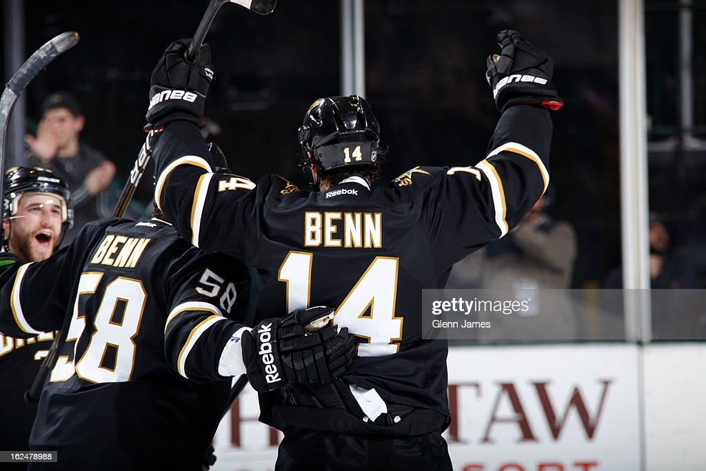 <a gi-track='captionPersonalityLinkClicked' href=/galleries/search?phrase=Jamie+Benn&family=editorial&specificpeople=4595070 ng-click='$event.stopPropagation()'>Jamie Benn</a> #14 and Jordie Benn #58 of the Dallas Stars celebrate a goal against the San Jose Sharks at the American Airlines Center on February 23, 2013 in Dallas, Texas.