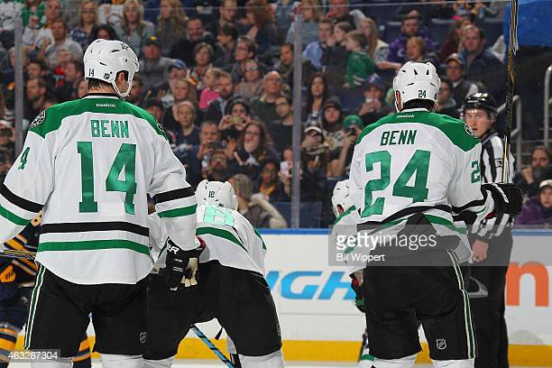 Jamie Benn and Jordie Benn of the Dallas Stars stand for a faceoff against the Buffalo Sabres on February 7 2015 at the First Niagara Center in...