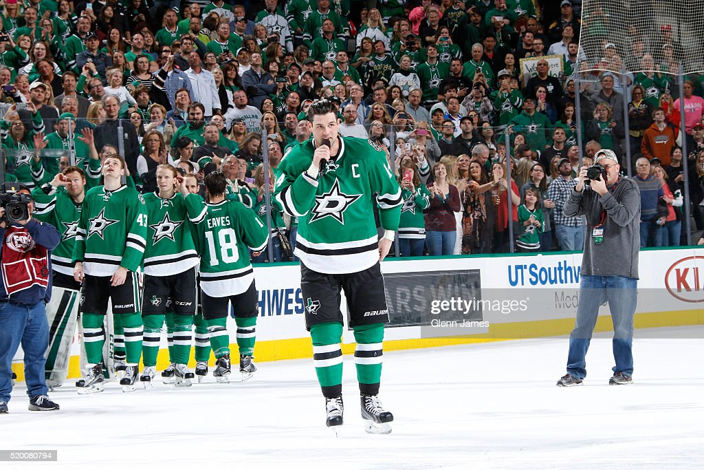 Jamie Benn #14 of the Dallas Stars addresses the crowd after the win against Nashville Predators at the American Airlines Center on April 9, 2016 in Dallas, Texas.
