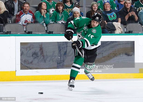 Jamie Benn of the Dallas Stars blasts a shot on goal against the Colorado Avalanche at the American Airlines Center on January 23 2016 in Dallas Texas