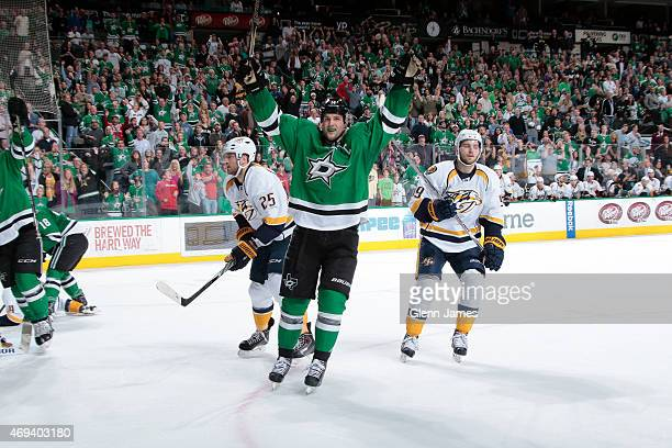 Jamie Benn of the Dallas Stars celebrate a goal giving him his fourth point of the night and 87th point of the season to clinch the Art Ross trophy...