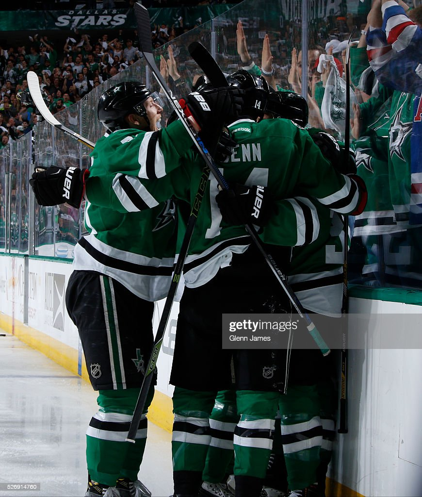 Jamie Benn #14 of the Dallas Stars celebrates a goal against XX in Game Two of the Western Conference Second Round during the 2016 NHL Stanley Cup Playoffs at the American Airlines Center on May 1, 2016 in Dallas, Texas.